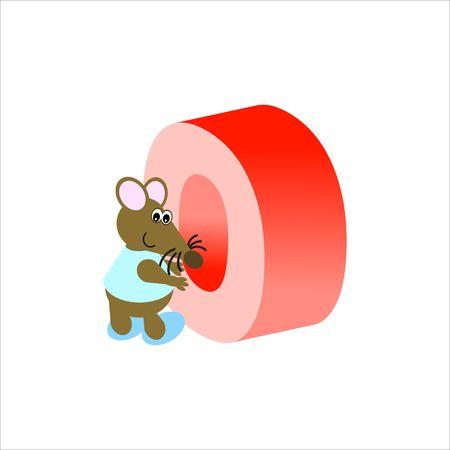 baile caricatura: Ratón feliz con la letra mayúscula O