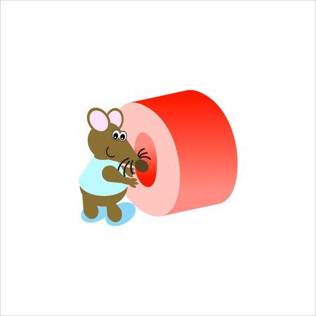 baile caricatura: Feliz Mouse con letra min�scula o