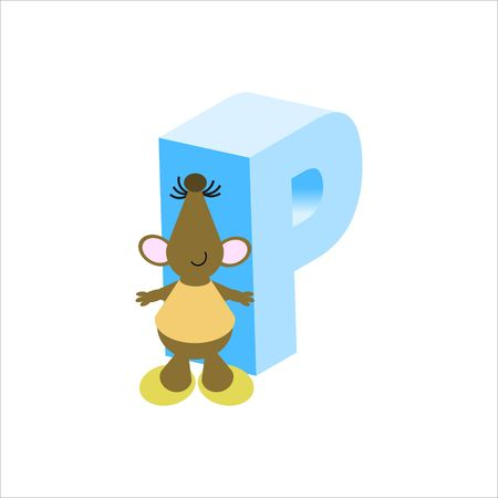 baile caricatura: Rat�n feliz con may�sculas letra p Foto de archivo