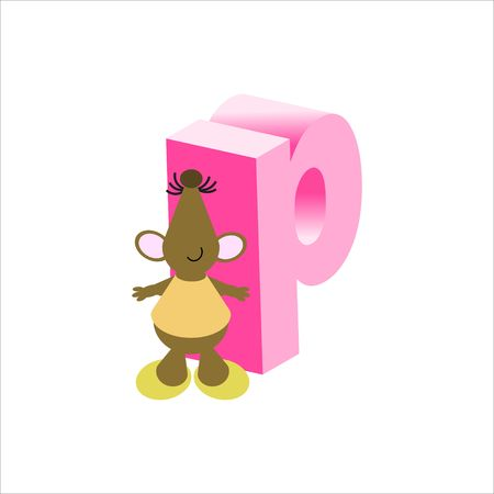 Happy Mouse with lower case letter p Stock Photo - 4998103