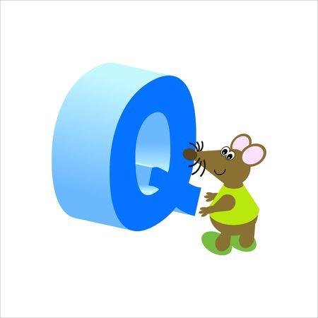 baile caricatura: Ratón feliz con letra mayúscula Q