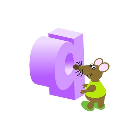 Happy Mouse with lower case letter q Stock Photo