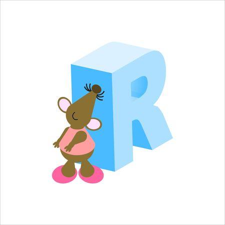 baile caricatura: Feliz Mouse con mayúsculas carta R