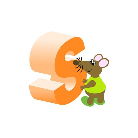 rodent: Happy Mouse with upper case letter S Stock Photo