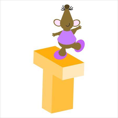 baile caricatura: Feliz Mouse con letra T may�scula