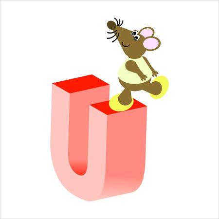 baile caricatura: Feliz Mouse con mayúsculas letra U