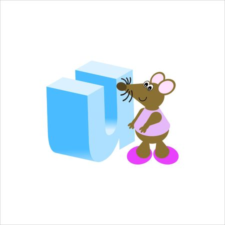 Happy Mouse with lower case letter u Stock Photo - 4998187
