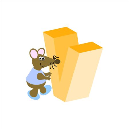 Happy Mouse with upper case letter V Stock Photo