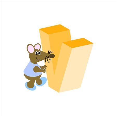 baile caricatura: Ratón feliz con letra mayúscula V