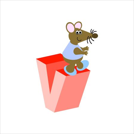 Happy Mouse with lower case letter v Stock Photo