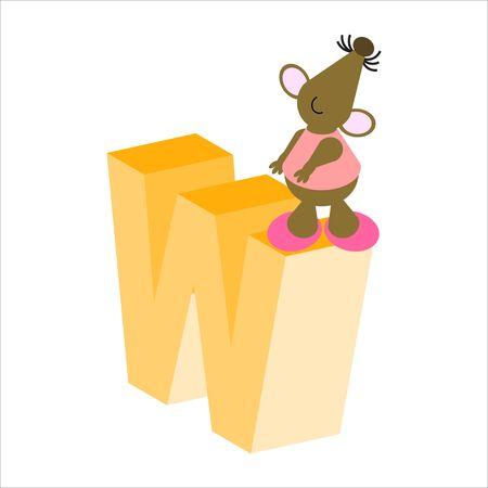 Feliz Mouse con mayúsculas letra W Foto de archivo - 4998138
