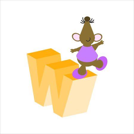 baile caricatura: Feliz Mouse con letra min�scula w Foto de archivo