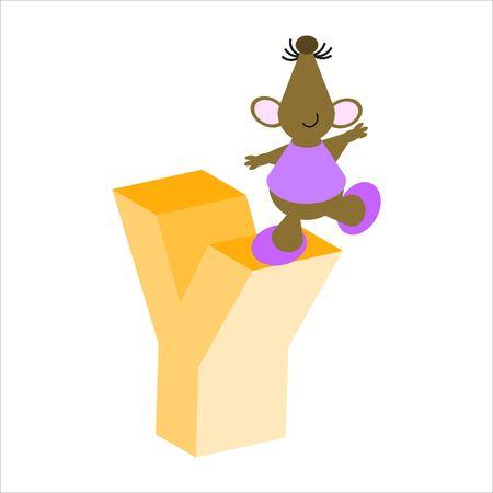 baile caricatura: Feliz Mouse con may�sculas letra Y