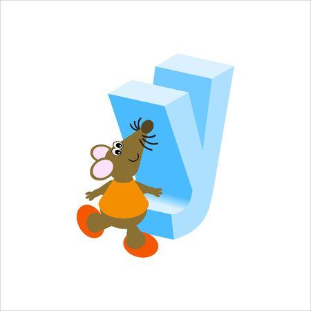 baile caricatura: Feliz Mouse con letra min�scula y