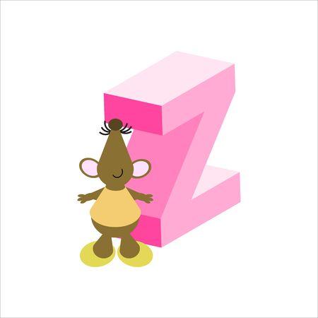 baile caricatura: Feliz Mouse con may�sculas letra Z