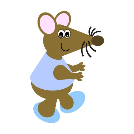 Cartoon of a happy, dancing mouse Stock Photo - 4998099