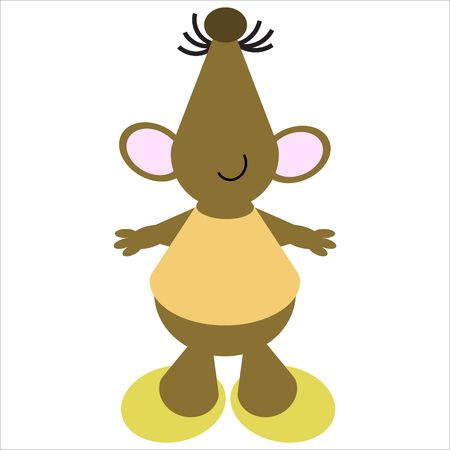 whisker: Cartoon of a happy, dancing mouse Stock Photo