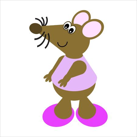 Cartoon of a happy, dancing mouse photo