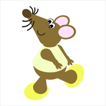Cartoon of a happy, dancing mouse Stock Photo