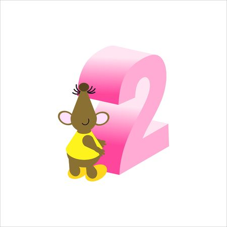 Happy Mouse with number 2 Stock Photo - 4998130