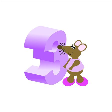 Happy Mouse with number 3 Stock Photo - 4998123