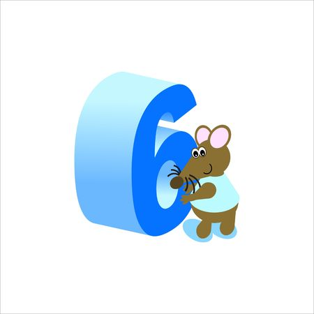 Happy Mouse with number 6 Stock Photo - 4998165