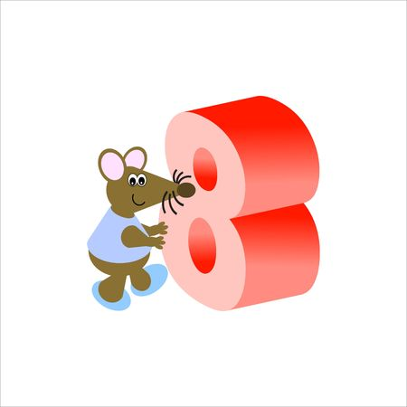 Happy Mouse with number 8 Stock Photo - 4998183