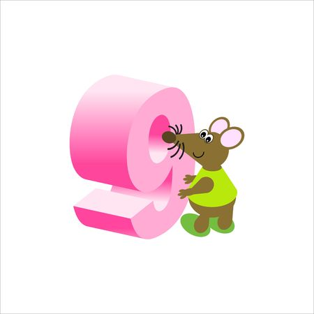 Happy Mouse with number 9 Stock Photo