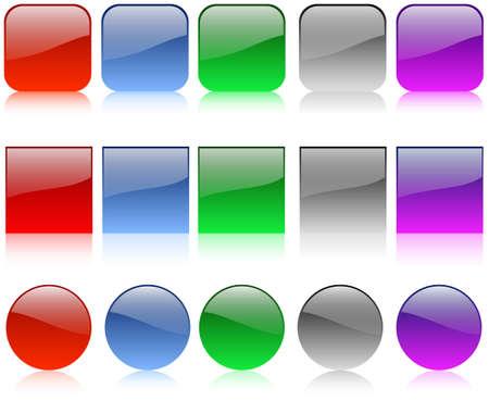 cuadrados: El conjunto de botones brillante web