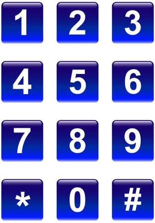 cyfra: Aqua numer telefonu niebieskie przyciski kwadratowych