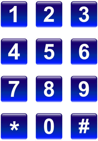 digital number: Aqua telephone number blue square buttons