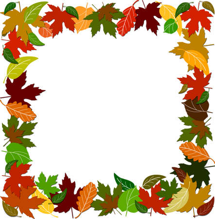 Colorful leaf border on the white background with space for copy Stock Vector - 10425516