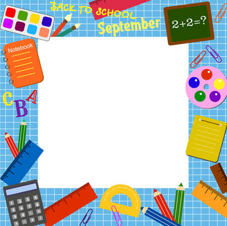 schooldays: Colorful border (frame) with the school objects