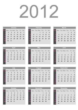 2012 annual calendar template on the gray background. Weeks start on Sunday. Vector
