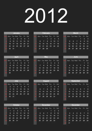 2012 annual calendar template on the gray background. Weeks start on Sunday.