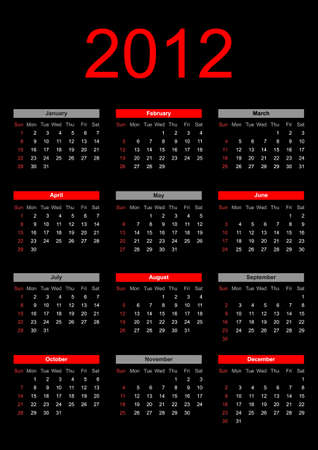 2012 annual calendar template on the black background. Weeks start on Sunday. Vector
