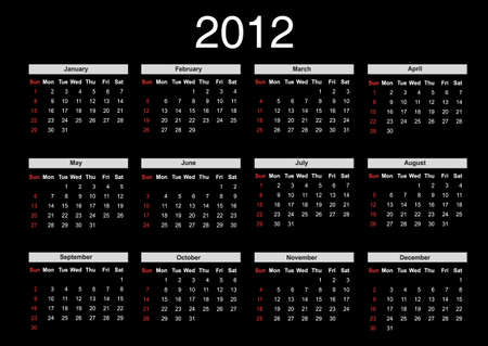 weeks: 2012 annual calendar template on the black background. Weeks start on Sunday.