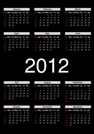 2012 annual calendar template on the black background. Weeks start on Sunday.