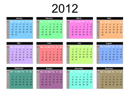 2012 annual calendar template on the white background. Weeks start on Sunday. Illustration