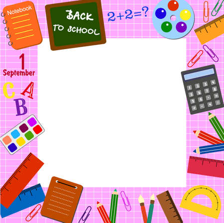 textbooks: Frame with the school objects Illustration
