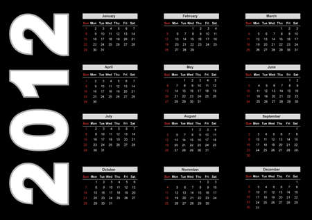 2012 annual calendar template on the black background. Weeks start on Sunday. EPS file available Vector
