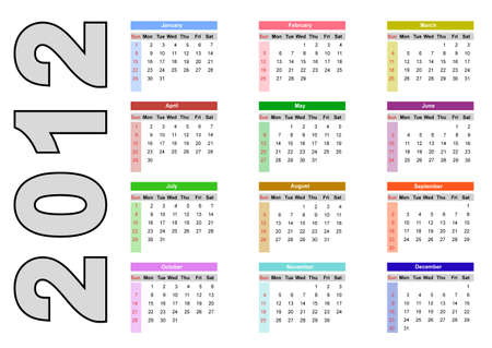 2012 annual calendar template on the white background. Weeks start on Sunday. EPS file available Vector