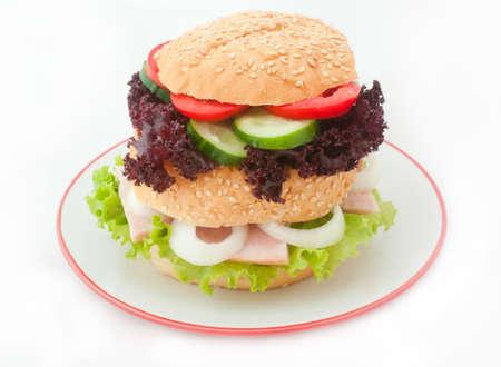 Hamburger isolated on the white background