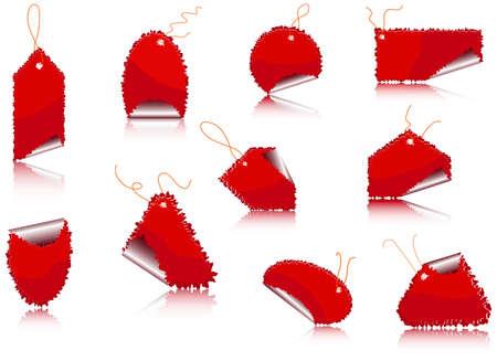 Illustration - set of red sticker on the white background Illustration