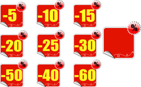 Set of red price tags Illustration