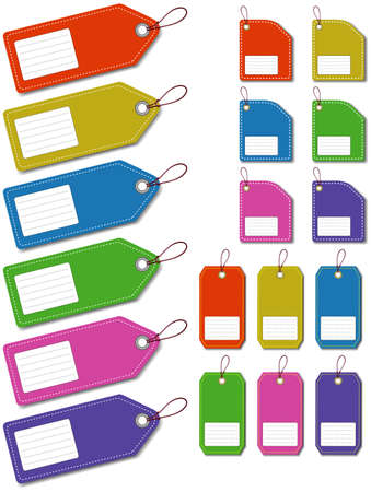 luggage tag: Set label on the white background
