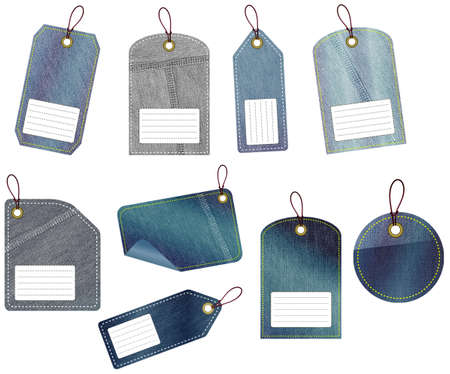 The set of 9 jeans tags on the white background