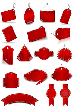 The set of red stickers on the white background illustration
