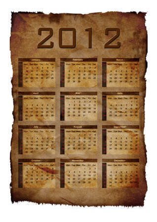 2012 annual calendar template aged paper background. Weeks start on Sunday.