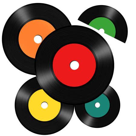 Vintage vinyl records isolated on white background